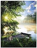 Artland Glasbilder Wandbild Glas Bild einteilig 60x80 cm Hochformat Natur Landschaft Wald Baum Ufer See Steg Sommer Sonne Gräser T0WD