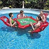 WUYANSE Aufblasbarer Schwimmender Tisch Pool Party Float Spiel Und Lounge, Aufblasbarer Sitz Mahjong Tisch Poker Tisch Schwimmender Pool Mit 4 Schwimmenden Sitzen Für Pool Party.