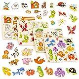 Set mit 4 bunten Holzpuzzle - Perfekt für Kinder im Vorschulalter - Hilft der frühen Erziehung & Intellektuellen Entwicklung