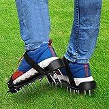 Yaheetech 1 Paar Nagelschuhe Rasenbelüfter Schuhe mit 2 Verstellbare Gurte Nagelsohle Estrichschuhe für Rasen und Hof, Schwarz