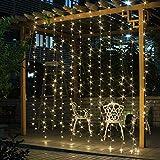SALCAR LED Lichtervorhang 3x3m IP44 Vorhang Lichterkette, Lichtervorhang für Weihnachten, Partydekoration, Innenbeleuchtung, 8 Lichtprogramme (warmweiß)