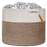 Goodpick Wäschekorb Baumwolle Seil Aufbewahrungskorb geflochten für Decken Kissen Spielzeug im Kinderzimmer, D40 x H35 cm