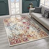 SANAT Teppich Vintage - Modern Teppiche für Wohnzimmer, Kurzflor Teppich in Rot/Gelb/Blau, Öko-Tex 100 Zertifiziert, Größe: 160x230 cm