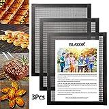BBQ Grillmatte 3er-Set, 100% Antihaft-Kochmatte, Teflon-Grillblech, wiederverwendbar- Für Gas, Holzkohle, Grill ect - Best Outdoor BBQ Set (Schwarz) (40 x 33 cm)