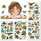 Tattoo Kinder, Konsait Glitzer Dinosaurier Temporäre Tattoos Set, Dino Tattoos Kinder, Dinosaurier Kindertattoos Aufkleber für Jungs Kindergeburtstag Mitgebsel Party Spielen Spielspass