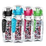 Nomisty Wasserflasche mit Fruchteinsatz,1000ML Fruit Infuser Sports Trinkflasche BPA-Frei mit Kühlung Obst Flasche (Blau)