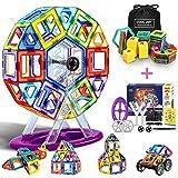 LOORI Magnetische Bausteine, 100 PCS Magnetische Bauklötze Set, Magnet Baustein Pädagogische Geschenk für Kinder, Magnetbausteine Auto Spielzeug / Roboter / Animal / Ferris Wheel