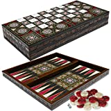 PrimoLiving Deluxe Holz Backgammon Set PALAMEDES im XXL Format 50x50 cm