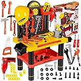 Werkbank Kinder Kinderwerkbank & Zubehör Werkstatt KP2646 Kleinkindspielzeug Kinderbank Werkzeug Schrauben und Bauelementen Inkl. Helm Zubehör Kinder werkzeugbank