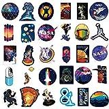 NASA Aufkleber für Laptop [100 STÜCKE], Platz Forscher Galaxis Vinyl Aufkleber für Wasserflasche MacBook Auto Fahrrad Stoßstange Skateboard, Raumfahrer Raumschiff Universum Planet Graffiti Aufkleber…