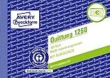 AVERY Zweckform 1250 Quittungsblock (A6 quer, 100 Blatt, fälschungssicher, separat ausgewiesene MwSt., mit 1 Blatt Blaupapier, für Deutschland und Österreich) weiß