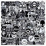 EKKONG Aufkleber, 100 STK Schwarz und weiß Stickers Set Wasserdicht Vinyl Graffiti Decals für Auto Motorräd Fahrrad Skateboard Snowboard Gepäck Laptop MacBook Pad (Black+White)