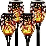 4 Pack Gartenfackeln Solar Flamme Fackeln Solarleuchte Wasserdicht Solarlampe Landschaft Lichter Außen Warmlicht