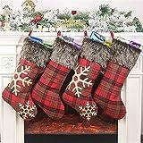 KOHMUI Weihnachtsstrumpf, 4er Rot Groß Plaid Weihnachtsstrumpf Weihnachtsschmuck zum Befüllen und Aufhängen, 46cm Hellbraun Schneeflocke Strümpf für Weihnachten Deko