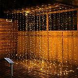 Solar Lichtervorhang, OxyLED 3m x 3m 300 LED Lichterketten Lichtervorhang IP65 wasserdicht 8 Modi Lichterkette Deko für Weihnachten Innen Außen Garten Party Hochzeit Schlafzimmer, Warmweiß
