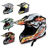 Hecht Motocrosshelm 53915 Motorrad-Helm Enduro ABS Quadhelm (XS (53-54 cm), orange/schwarz/weiß)