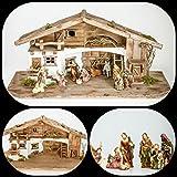 Große Weihnachtskrippe mit Krippenfiguren (W11+kF5) Krippenstall Weihnachten-Weihnachtskrippen