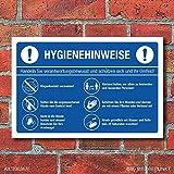 WERBEPUNKT. Schild Hygienehinweise Hände waschen Abstand halten Niesen - 3 mm Alu-Verbund 300 x 200 mm