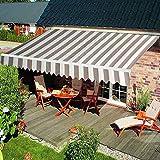 HENGMEI Aluminium Markise Klemmmarkise Balkonmarkise Sonnenschutz Kassettenmarkise Gelenkarmmarkise Sonnensegel (360 * 300cm, Beige)