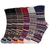 Fixget Damen Winter Wollsocken, 6 Paare Dicke Stricksocken Weiche Warme Vintage, Bunte Wintersocken Thermosocken Atmungsaktive (A)