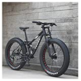 NENGGE 26 Zoll Mountainbike, Erwachsenen Jugend Hardtail MTB, Rahmen aus Kohlenstoffstahl, Großer Reifen Vollfederung Mountain Bike,Schwarz,27 Speed