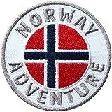 2 x Norwegen Abzeichen gestickt 60 mm / Norway Abenteuer Outdoor Reise Flagge Fahne Wappen Skandinavien / Aufnäher Aufbügler Flicken Patch für Kleidung Rucksack / Reisefüher Wanderführer Karte Buch