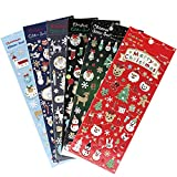 Naler 6 x Weihnachtsstickers Glitzer Weihnachten Stickers für Dekoration Scrapbooking Verpackung