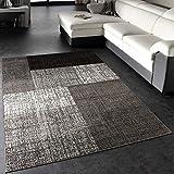 Paco Home Designer Teppich Modern Kariert Kurzflor Design Meliert In Grau Creme Braun, Grösse:230x320 cm