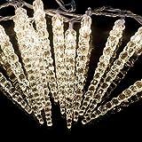 (60er, 7,8 Meter) LED Acryl Eiszapfenlichterkette Innen & Außen! 4,8 Meter & 3 Meter Zuleitung!! Warm-Weiß. Erweiterbar! 60 Eiszapfen als Lichterkette Outdoor Weihnachtsdekoration