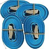 4 Spanngurte mit Klemmschloss (6m 250 Kg 25mm breite, blau)