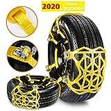 Qisiewell Universal Schneeketten 2020 Upgrade Gelb Einfach zu montieren Reifen Schneekette für Jede Reifenbreite 165-285mm 6-teiliges Set