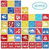 42 Stück Schablonen Kinder Malen - Textilgestaltung Malschablonen Zeichenschablonen Basteln - Spielzeug Geschenk für Kinder Junge Mädchen 3 4 5 6 Jahre