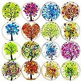 DUOUPA 16 Stück Set Kühlschrankmagnete Baum Muster Magnete fuer Kuehlschrank 3D Bunt aus Glas Magnete für Whiteboards, Pinnwand, Büro Schränke