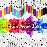 OUTOPE Textilstifte, Textilstifte Waschmaschinenfest, Wasserfeste Textilmarker, Waschfeste Textilmalstifte Enthält 3 Vorlagen Ideal für T-Shirts, Schuhe, Taschen und andere Stoffarten - 24er-Set