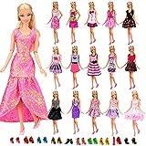 Miunana 22 Stück = 12 Kleider Kleidung Partymode Prinzessinnen Fashionistas mit 10 Paar Schuhe für 11,5 Zoll Mädchen Puppe