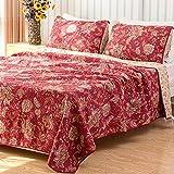 Qucover Tagesdecke Baumwolle 240x270cm Bettüberwurf Doppelbett Rot Decke Gesteppt mit Kissen Set Groß Wendedecke Landhausstil Blumenmuster