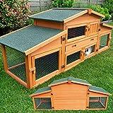 zooprinz großer Hasenstall - Dach zum Öffnen - massives Vollholz für draußen - Einfach zu reinigen Dank der extra hohen Kotschublade - Kleintierstall mit ungiftiger Farbe gestrichen Kaninchenstall