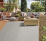 Mia´s Teppiche Lara Flachgewebe In-& Outdoor Teppich UV-und Witterungsbeständig Grau 120x170, 100% Polypropylen, 120x170 cm