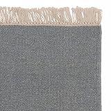 URBANARA Teppich Manu – 100% Woll-Baumwoll-Mischung, Wohnzimmer Teppich mit Fransen, handgewebt - Schlafzimmer Teppich (140 x 200 cm, Grüngrau)