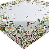 Tischdecke 85x85 cm SOMMER Pflegeleicht Weiß Sommerwiese Erdbeeren Bunt Gartendecke