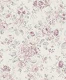 Rasch 516029 Selection Vliestapete , Mehrfarbig (Floral Rosa/Creme/Silber), 10,05 x 0,53 m