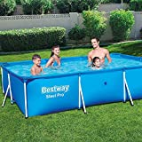 Bavaria Home Style Collection Großer Pool Gartenpool Frame-Pools Badepool Rahmenpool Aufstellpool Schwimmpool Swimmingpool Schwimmbecken Outdoor mit Stahl-Rahmen rechteckig 300 x 201 x 66 cm Blau