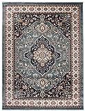 Traditioneller Klassischer Teppich für Ihre Wohnzimmer - Dunkel Grün Creme Beige - Perser Orientalisches Heriz Keshan Muster - Blumen Ornamente - Top Qualität Pflegeleicht ' AYLA ' 120 x 170 cm Klein