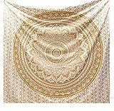raajsee Indisch Psychedelic Wandteppich Mandala Glänzend Gold weiß, Elefant Boho Wandtuch Hippie,Golden Decke Wandbehang,/Beach Tapestry Yoga Meditation Mat/A (White Gold, 210x220 cms)