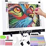 ARTDOT Diamond Painting Licht Pad A3 Einstellbare Helligkeit Lichtkasten Ultra Slim Leuchtplatte Leuchttisch mit Ständer USB Kabel Aufbewahrungsbox für Diamant Malerei, Kopieren, Zeichnen Skizzieren