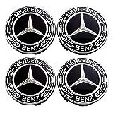 Set 4X Radnabenabdeckung Ersatzteil für Mercedes Benz Durchmesser - 75mm Radzierdeckel Lorbeerkranz schwarz Kappe Deckel Nabendeckel Wheel Cap Radnabendeckel Zierdeckel 4 Stück