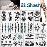 Vibury Temporär Tätowierung, 21 Blätter Tattoo Aufkleber Fake Arm Tattoos Sticker für männer Frauen- Dragon Heartbeat Tiger Vine Skorpion Grafik Schädel