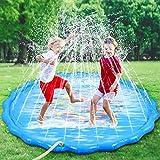 Faburo Aufblasbare Wasserspielmatte Splash Pad Wassergefüllte Spielmatte Wassermatte Pool Kinder Durchmesser 170cm