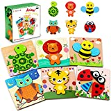 lenbest 6 Pcs Kinder Holzpuzzle, Lebendiger Hintergrund Steckpuzzle Holz Montessori Spielzeug, 3D Ungiftig Tier Puzzle Lernspielzeug Weihnachten Geburtstag Geschenk für Baby Kinder