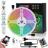 Sooair LED Strip 5m, LED Streifen mit Bluetooth und IR-Fernbedienung, Stripe Batterie 5050 RGB Lichtband dimmbar, Intelligente Stimme, Wasserdicht LED-Strip-Kit für TV Beleuchtung, Schrank, Haus Deko